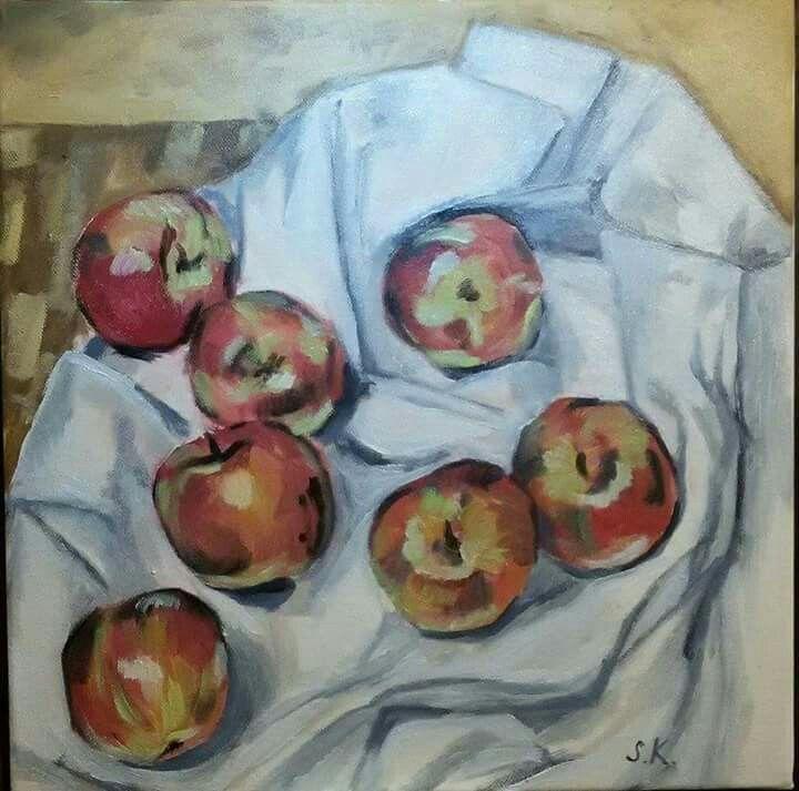 Sedm jablek. Olej na plátně, 40x40 cm.