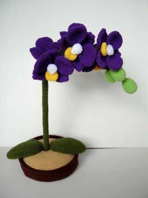 Crochet Pattern Orchid Flower Plant Pdf 00414 Crochet Flowers Crochet Plant Knitted Flowers