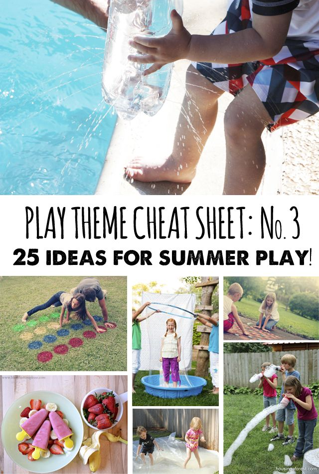 25 ideas for summer play - bubble snakes, sidewalk checkers, sponge bombs and more!   (Part of a regular play theme series - a new theme with lots of activities, books, etc. each month)