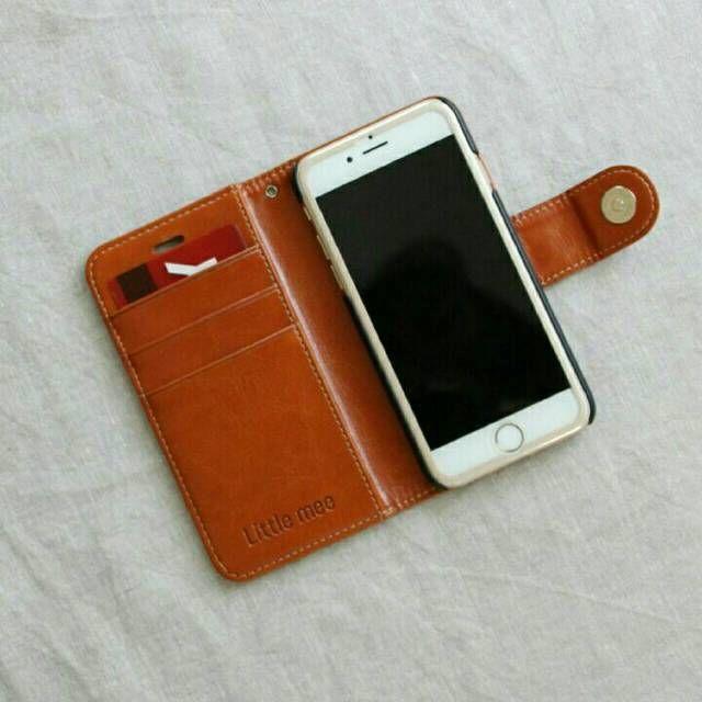 【iPhone6/6s】しっかりレザー調🌼レトロフラワーチャーム付き🌼アイフォン手帳型ケース🌼ブラウン🌼アイホンiPhoneカバー🌼アンティークシンプル北欧🌼