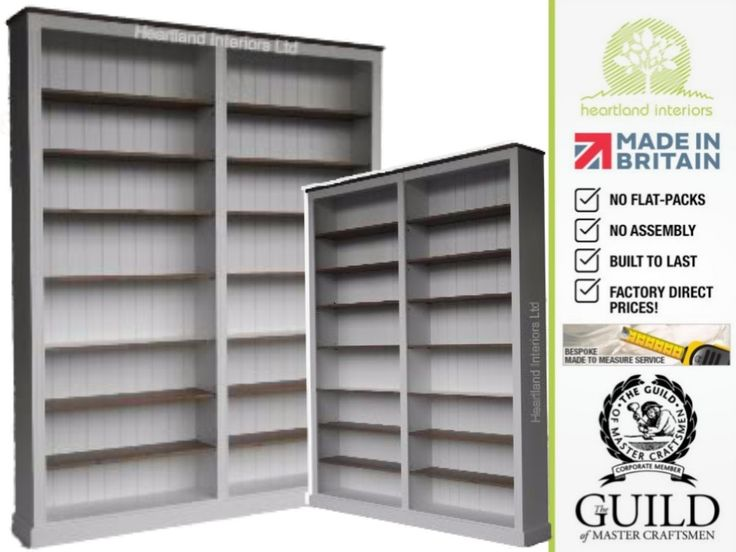 """Traditional 8ft x 6ft 6"""" Painted Adjustable Library Bookcase BK867"""