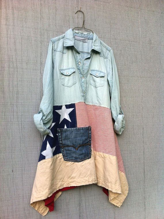 Americana romantic lagenlook dress / Upcycled by CreoleSha on Etsy