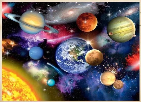 Full Drill 5D DIY Diamond Painting Space planet Embroidery Cross Stitch MosaicBL