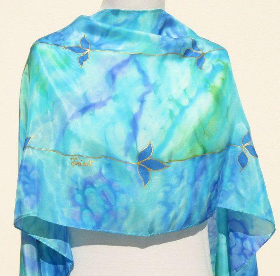 Sciarpa di seta blu turchese mare spiaggia mediterranea di Irisit