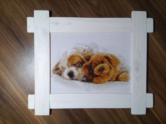 Picture embroidered with beads - Christmas dreams  Size without frame is 28cm X 22cm ( 11 X 8 ) Size with the frame is 42,5cm X 35cm (16,5 X 14) The piture is sold with a handmade frame, made of pine.  The picture is partially embroidered with Czech beads on fabric. This picture will make your house interior unforgettable.  Avia shipping is about 2 weeks.