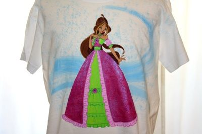 """Hand painted girl's t shirt, featuring a character from the kid's cartoon series """"Winx"""". The colors are non-toxic, water based, permanent fabric colors. This t-shirt can be custom-made and fully personalized."""