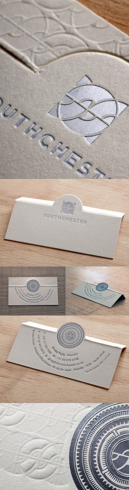 This clever business card design uses a couple of fancy techniques in moderation to create an interesting and interactive effect.