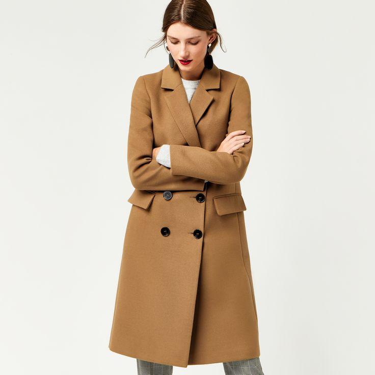 Warehouse, DOUBLE BREASTED CROMBIE COAT Camel 4