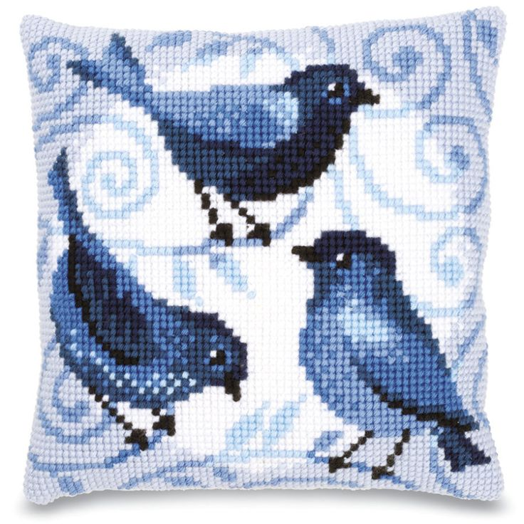 Blue Birds Quickpoint Pillow Top - Cross Stitch, Needlepoint, Embroidery Kits – Tools and Supplies