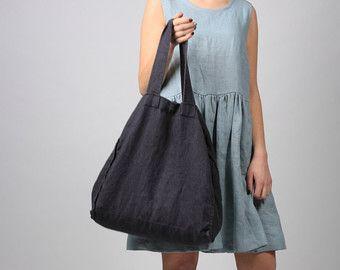Borsa Tote grande lino naturale grande Tote Bag borsa di LinenRain