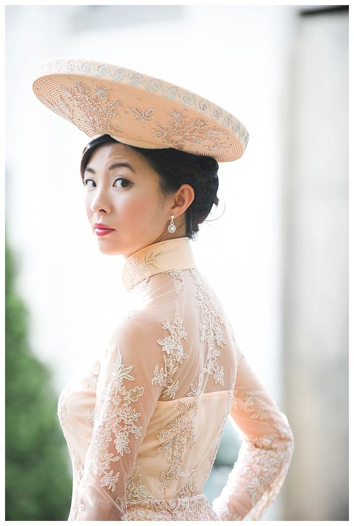 Kelli + Daniel Taylor Photography, LLC Blog » Birmingham-based wedding photography. Bride Thi wears a peach ao dai, the traditional Vietnamese wedding dress. Hair and make-up by Melissa Moore Bogardus.