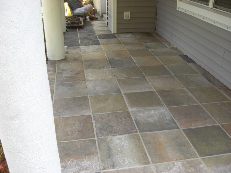 Painted Concrete To Look Like Tile Concrete Patio