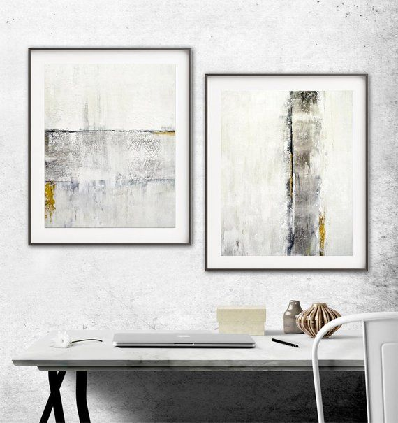 Modern Set Of Two Digital Download Prints White Gold Diptych