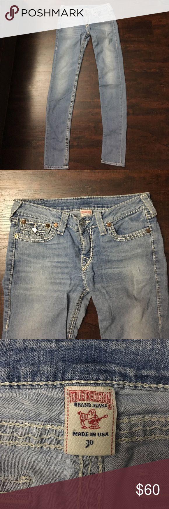 """True Religion skinny women seat jeans True Religion skinny seat women's jeans. Waist 15"""" inseam 32"""" size 30 True Religion Jeans Skinny"""