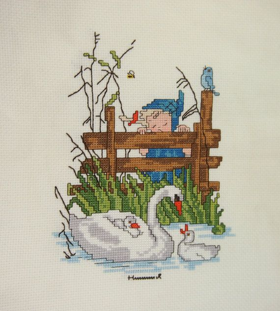 Hummel Completed Vintage 80s Cross Stitch Mother Swan via Etsy