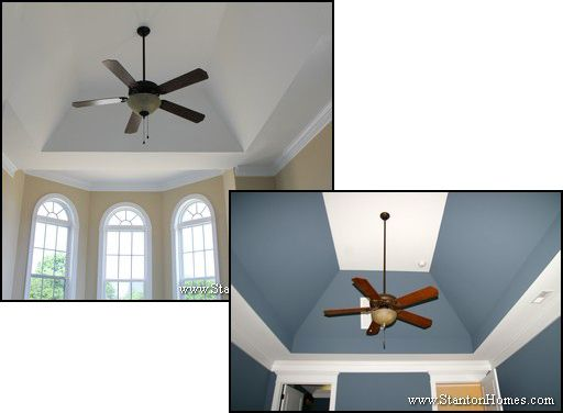 Vaulted trey ceiling. When you want to emphasize the change in depth of your ceiling, a more standard step size may be what you're looking for.