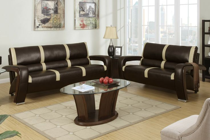 2-Pcs Sofa Set - A state-of the-art design is presented with this 2-piece sofa set upholstered in cream bonded leather and simple black stripe accents. This ultra modern piece also includes L-shaped side arms trimmed in a dark brown finish with shiny silver rounded leg supports making it the quint essential piece for anyone looking to add a futuristic vibe to their home living space.