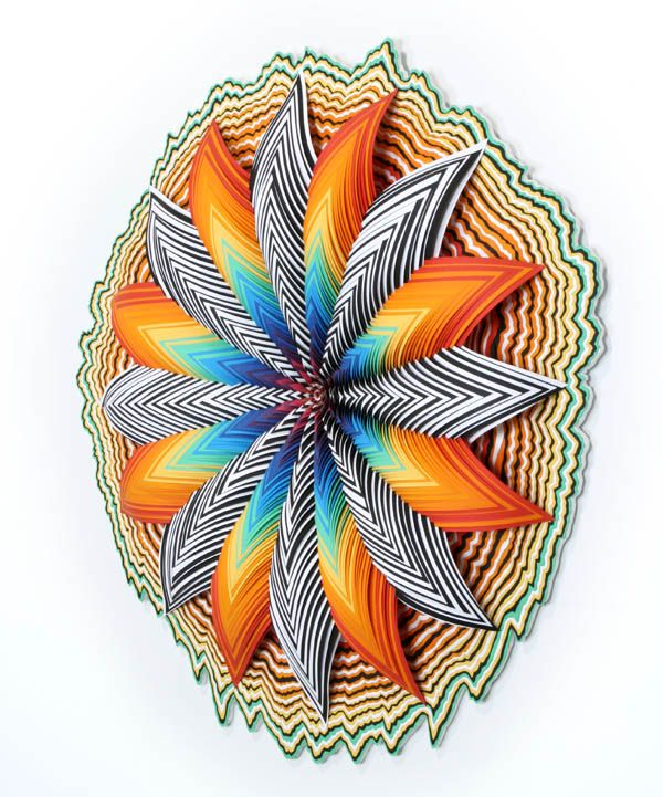 """Counter Cosmo / 30"""" x 30"""" x 5"""" / hand-cut paper, wood / 2011 by Jen Stark  Her paper cuts are so amazing. You should really click on the photo and go visit her website."""