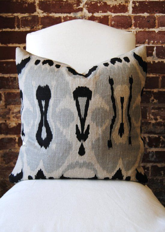 Ikat - Black and Grey Hand Print on Natural Linen - Pillow Cover - 20in square. $68.00, via Etsy.Pillows Covers, Hands Prints, Accent Pillows, Black And White, Living Room, Ikat Black, Hand Prints, Grey Hands, Throw Pillows