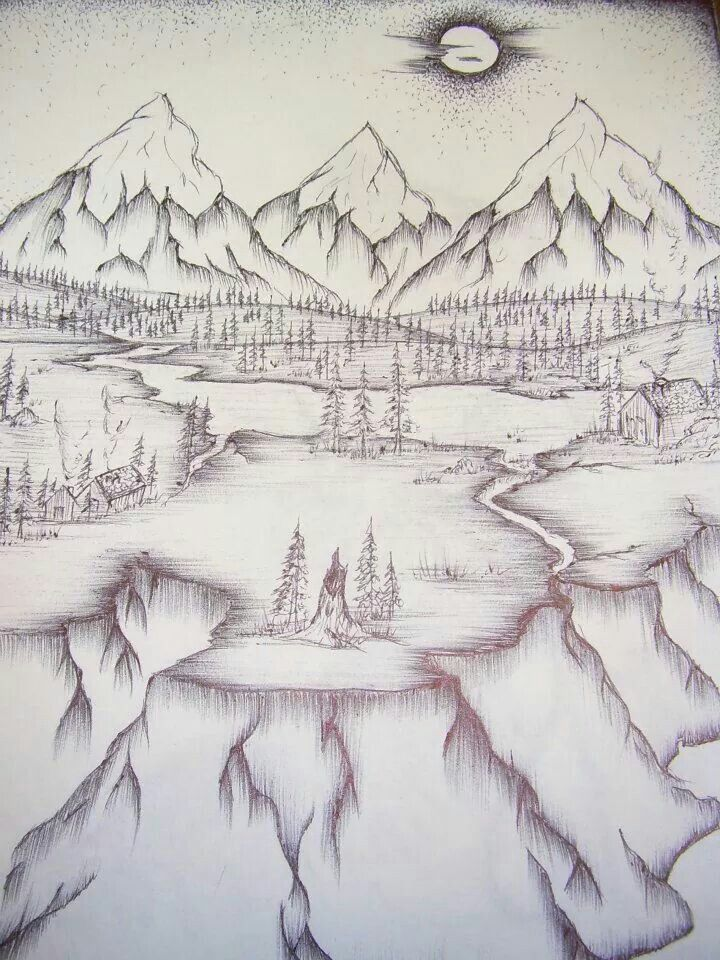 scenic pen drawing #alberta#mountains#coulees#sketch#pinetree#art#pen