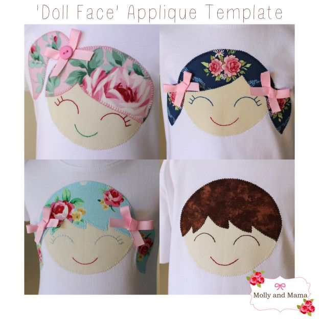 Check out those smiles! What a cheery way to brighten up a t-shirt. The 'Doll Face' Applique Template is by Molly and Mama
