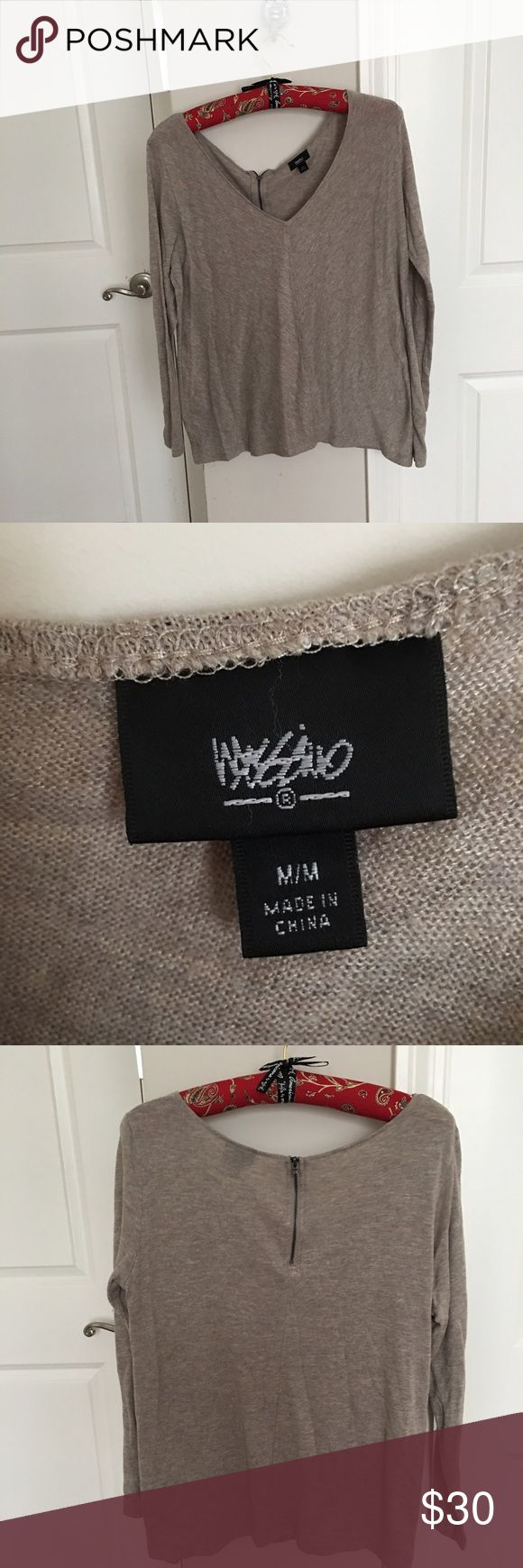 Dark Beige Long Sleeve Top Massimo Shirt with Zipper on Backside Massimo Tops Blouses