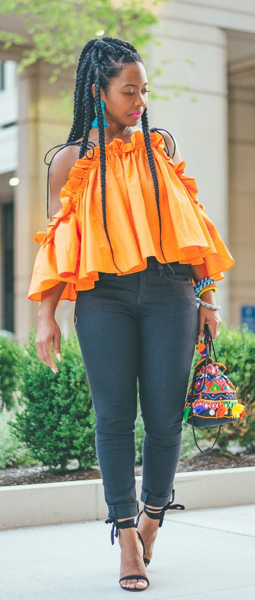 Sweenee Style, Indianapolis Fashion Blog, Black Jeans, Express Black Jeans, Triangle Braids, Long Braids, Asos, Summer Outfit Idea