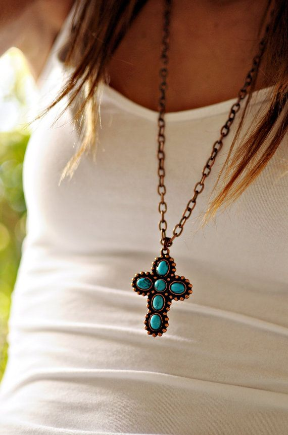 Turquoise Cross Necklace by NativeLivingJewelry on Etsy, $15.00
