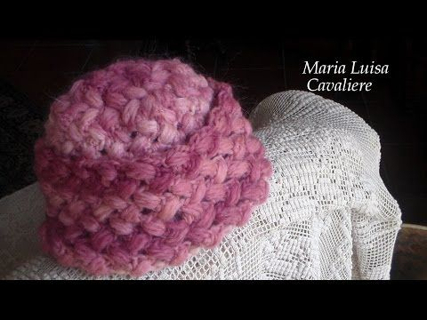 Cappello neonato 0 - max 6 mesi all'uncinetto video tutorial punto freccette e punto puff incrociato - YouTube
