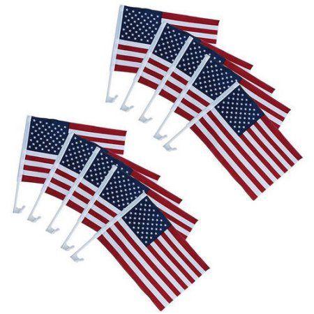 Aleko 10USFL12X17C US American Patriotic Car Window Clip, USA Flag Design, 18 inch x 12 inch, Pack of 10, Multicolor