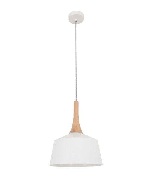 NORDIC - Small White/Oak 1 Light Pendant - 270mm Diameter