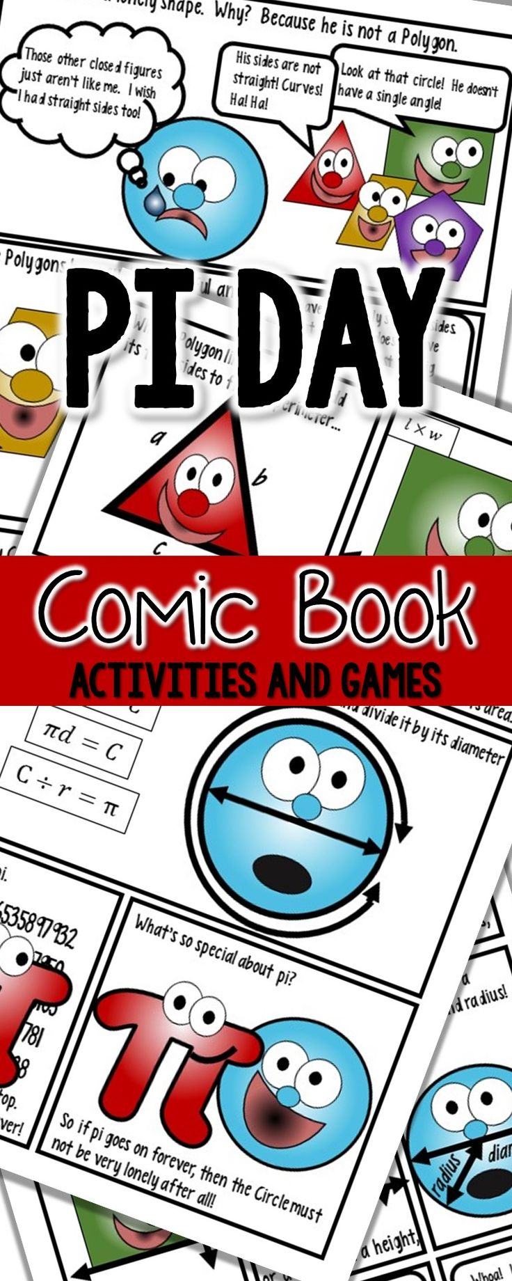 Pi Day Activities for the Upper Elementary Math Class!  Polygons and circles comic book, venn diagram, game