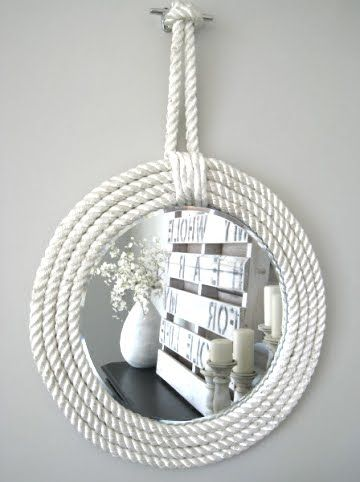 diy rope mirrors (several different projects) ... http://www.completely-coastal.com/2012/10/rope-mirrors.html
