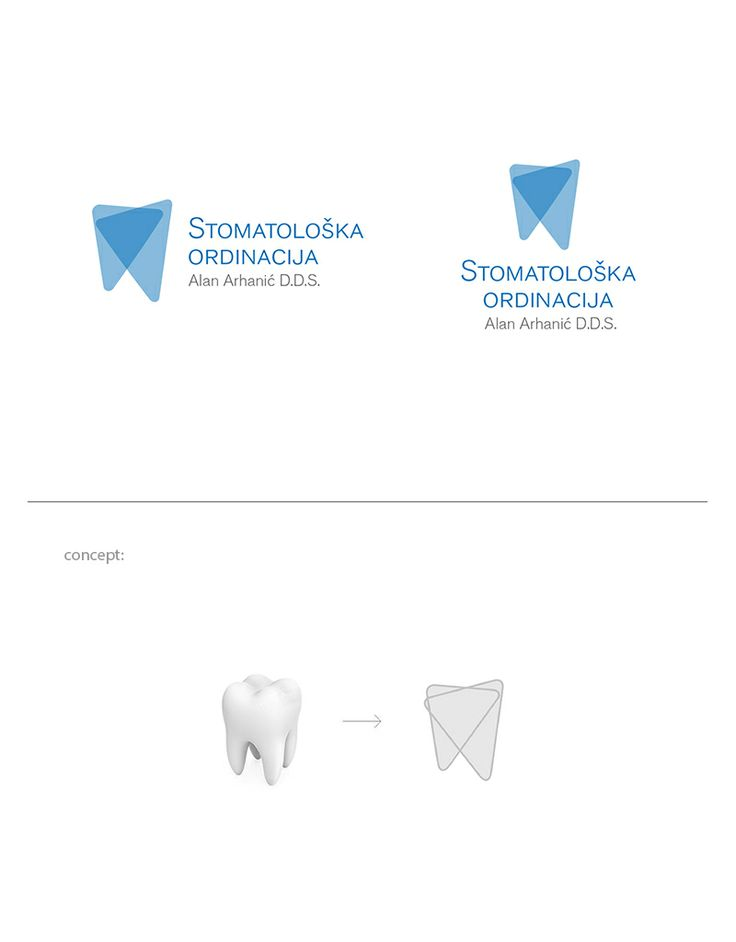 Logo for a dental practice is a combination of a stylized tooth and clean and simple typography.