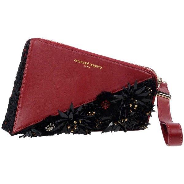 Emanuel Ungaro Handbag ($1,155) ❤ liked on Polyvore featuring bags, handbags, maroon, man bag, print handbags, zip purse, animal print purses and animal purse