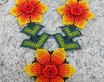 Collar de perlas de semilla flor Floral colorido vidrio hecho a mano