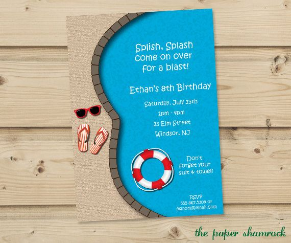 Pool Party Invitation Birthday Pool Party by ThePaperShamrock, $12.00