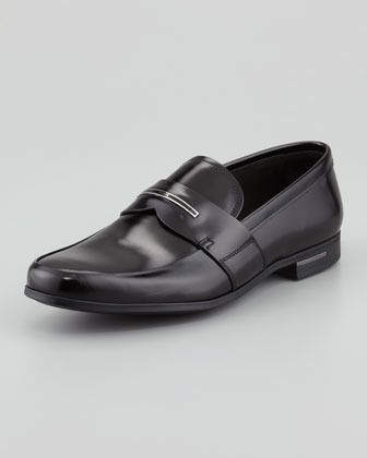 $650, Black Leather Loafers: Prada Logo Inset Leather Loafer Black. Sold by Neiman Marcus. Click for more info: http://lookastic.com/men/shop_items/2489/redirect