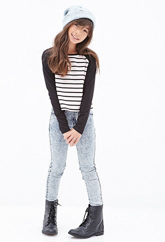 Girls Boxy Striped Raglan Tee (Kids) | Forever 21 girls - 2000138475