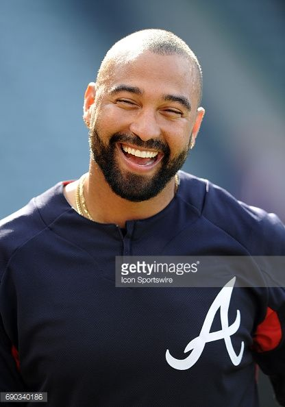 Atlanta Braves outfielder Matt Kemp on the field during batting practice before a game against the Los Angeles Angels of Anaheim, on May 29. 2017, played at Angel Stadium of Anaheim in Anaheim, CA.
