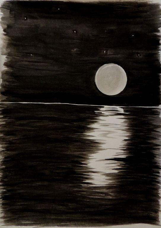 "Saatchi Online Artist: Rachel Cross; Watercolor 2013 Painting ""Moon Rise"" Full moon, watercolor, ocean, water, reflection, stars, black, drawing, beautiful, blue moon, rise, set,"