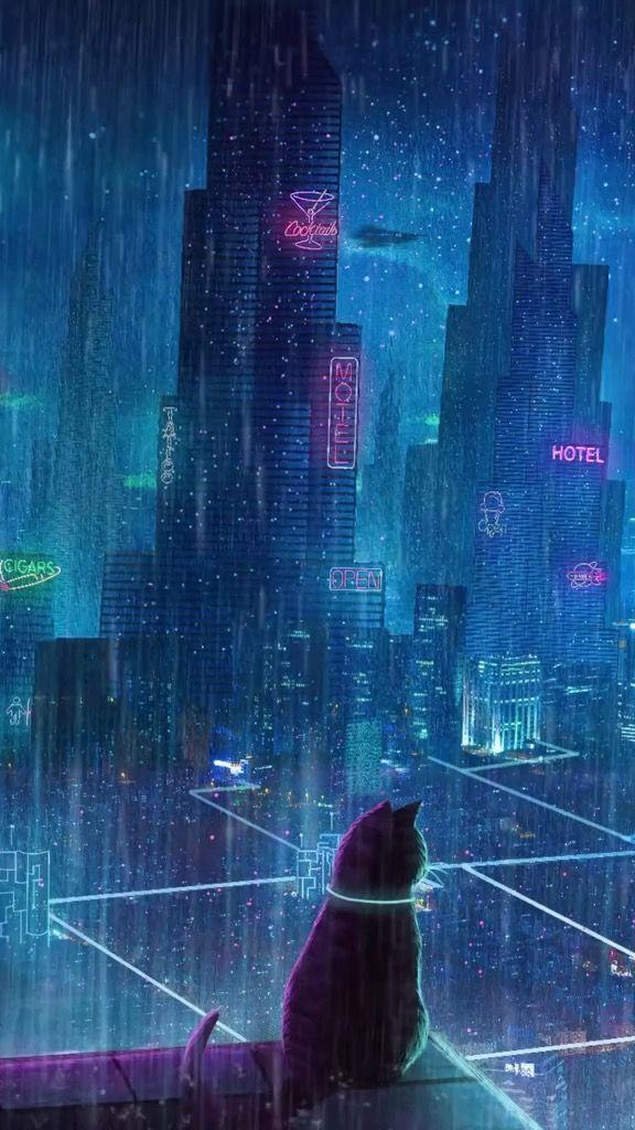 Black Cat In Rain Day Black Cat Painting Cityscape Wallpaper Rain Wallpapers