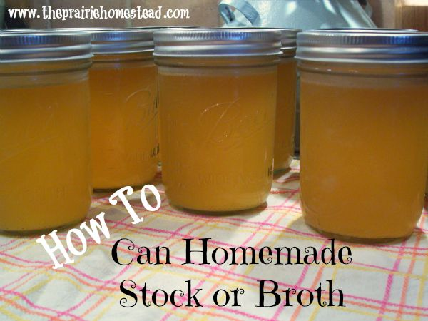 How to pressure can stock / http://www.theprairiehomestead.com/2012/12/how-to-can-homemade-stock-or-broth.html