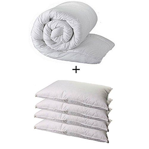 From 26.59 King Size Duvet & 4 Deluxe Pillows - King 15.0 Tog Quilt & 4 Superfirm Pillows