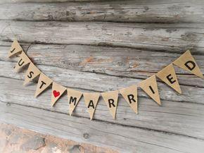 Just Married Girlande nur verheiratet Schild Just Married Banner Just Married Auto Zeichen Hochzeit Banner Hochzeit Dekor Sackleinen Banner