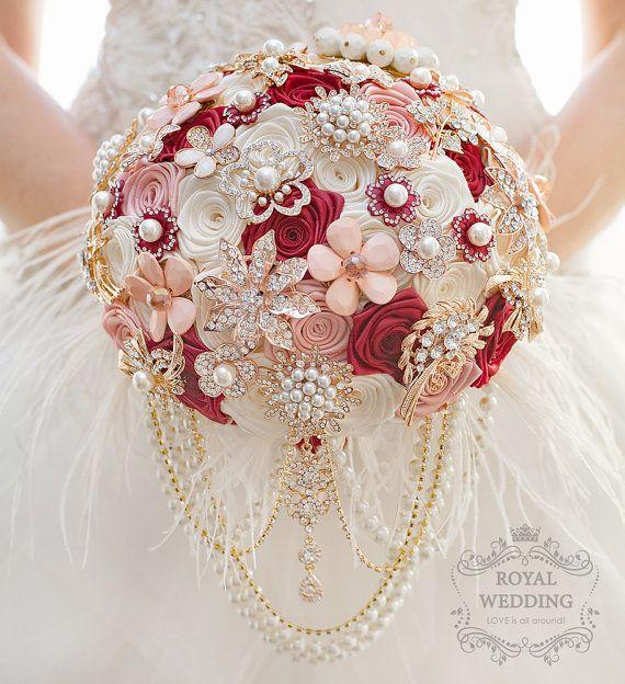 Wedding Bouquet broche boeket bruidsmeisjes door RoyalWeddingDecore