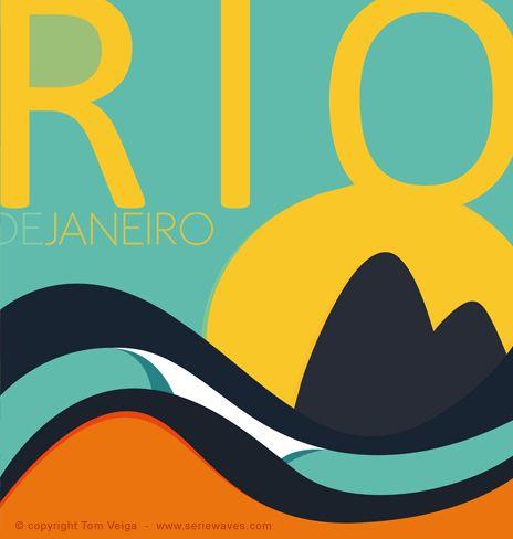 Rio de Janeiro Surf Art, by Brazilian artist and illustrator Tom Veiga, via Club Of The Waves