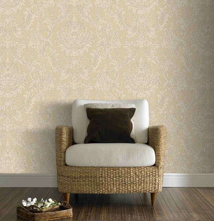 Province cream wallpaper cream damask wall coverings by for Cream wallpaper for walls