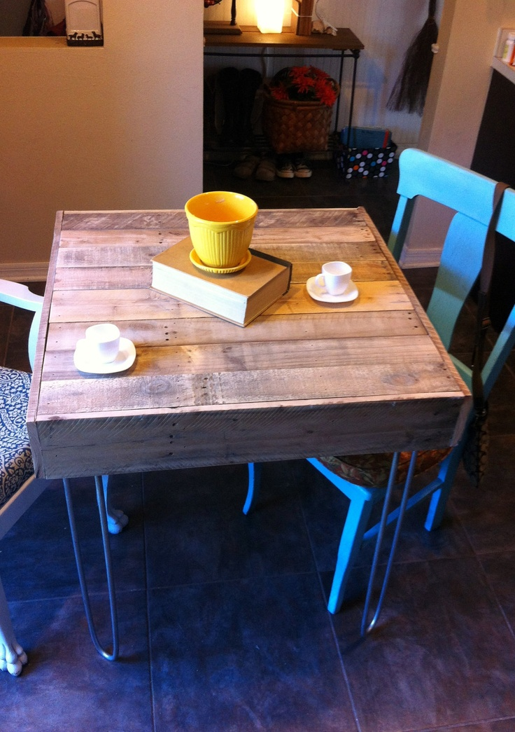Reclaimed Pallet Barnwood Bistro,Cafe, small kitchen space city loft table desk hairpin legs. $330.00, via Etsy.
