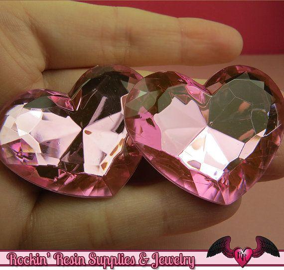 42mm groot hart GEMS roze acryl Faceted Strass door RockinResin